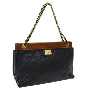 CHANEL Quilted Chain Hand Bag 8081029 Black Caviar
